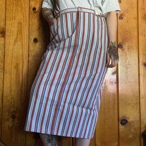 VINTAGE • Evan Picone Stretch Stripe Midi Skirt